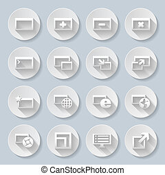 Icons - Set of round icons with web-pages on the gray...