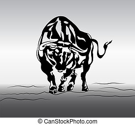 angry bull vector on gardient background