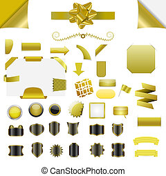 Vector element set - Set of clean gold vector blank isolated...