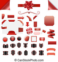 Vector element set - Set of clean red vector blank isolated...