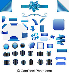 Vector element set - Set of clean blue vector blank isolated...