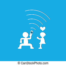Young couple having fun together with mobile phone