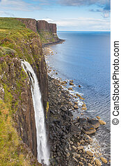 Kilt Rock - Famous Kilt Rock and a waterfall in the...