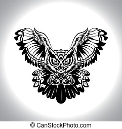 black and white drawing owl , a nightmare bird, for tattoo,...