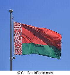 Belarus flag on blue sky, close up