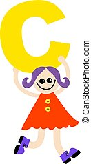 letter C kid - Happy little girl holding letter C