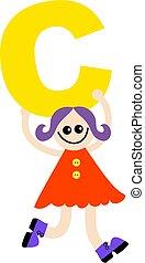 letter C kid - Happy little girl holding letter C.