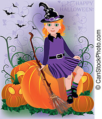 Little girl witch in black hat
