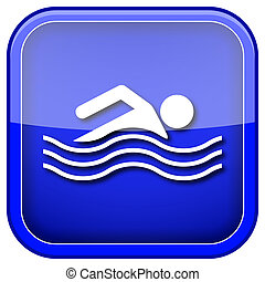 Water sports icon - Blue shiny glossy icon on white...