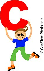 letter C kid - Happy little boy holding letter C