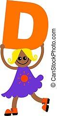 letter D kid - Happy little girl holding letter D.