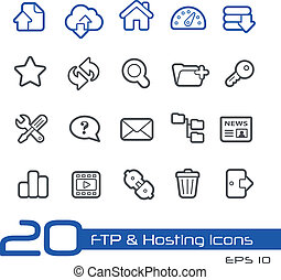 FTP and Hosting Icons Line Series - Vector icons set for...