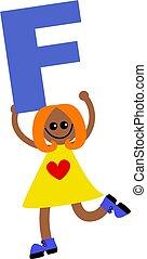 letter F kid - Happy little girl holding letter F.