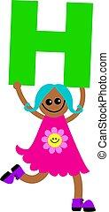 letter H kid - Happy little girl holding letter H.