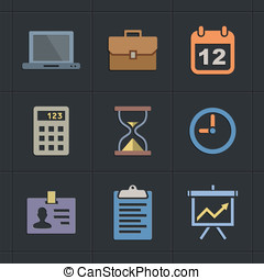 Business Flat Metro Style Icons - Business icons. Flat Metro...