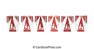 Row of red crystal liqueur glasses with cut fir-trees...