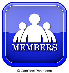 Members icon - Blue shiny glossy icon on white background.