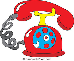 Telephone icon - Vector illustration of old rotary red...