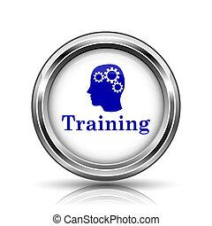 Training icon - Metallic shiny glossy icon on white...