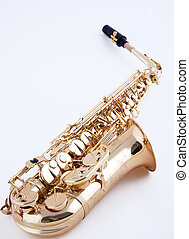 alto, saxophone, blanc, fond