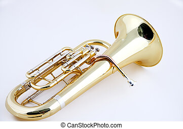 Tuba Brass Euphonium on White - A complete gold brass tuba...