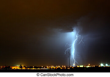 lightning - Lightning storm over Tucson AZ during the...