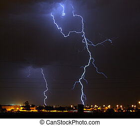 Light up the night - Lightning storm over Tucson AZ during...