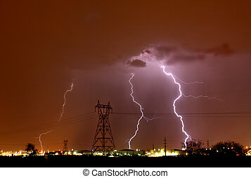 lightning powerlines - Lightning storm over Tucson AZ during...