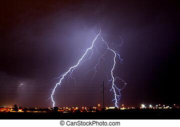 Monsoon Lightning - Lightning storm over Tucson AZ during...