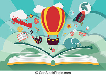 Imagination concept - open book with air balloon, rocket and...