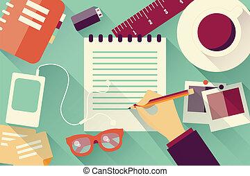 Flat design objects, work desk, long shadow, office desk,...