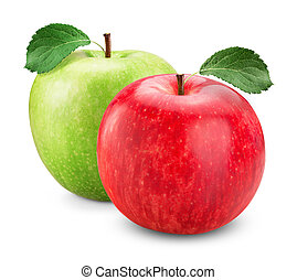 apple red green - Green and red apple with leaves isolated...