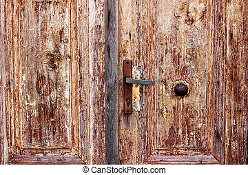 Detail of an old-looking wooden doors