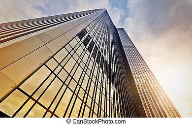 office tower at dawn - modern office tower at dawn,...