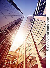 glass and steel office complex - modern glass and steel...