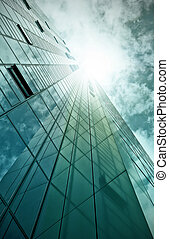 glass and steel office building - modern glass and steel...