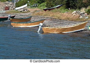 Dories on the beach at Dark Harbour Grand Manan New...
