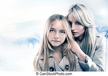 Portrait of mother with daughter - Beauty portrait of...