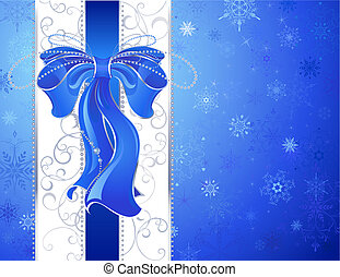 blue bow on a blue background - blue, luxurious, silk ribbon...