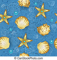 Blue seamless of gold seashells - seamless, blue, sandy...