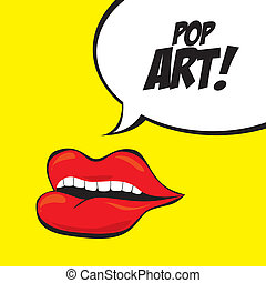 Pop art design over yellow background, vector illustration