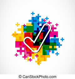 colorful approved ok sign vector