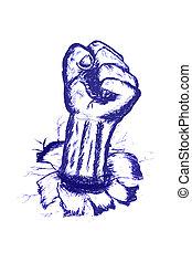 mão, desenhar, Esboço, Fisting, mão