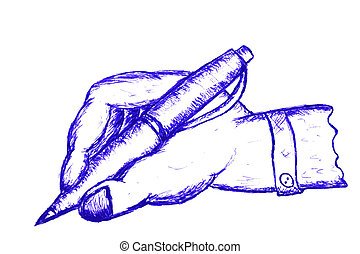 Hand Draw Sketch Man Hand Writing