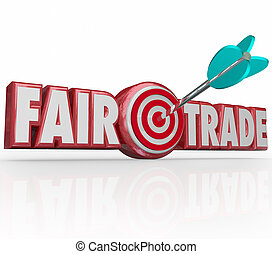 Fair Trade Words 3d Letters Arrow Target Bulls Eye - Fair...