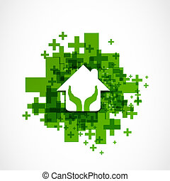 protect house abstract design vector