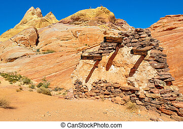 Execution wall in Valley of Fire Provincial Park, Nevada,...