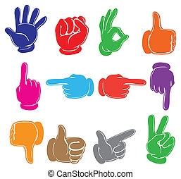 Colourful hands - Illustration of the colourful hands on a...