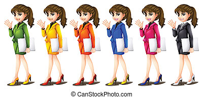 Office workers in different uniforms