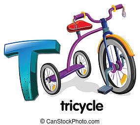 A letter T for tricycle - Illustration of a letter T for...